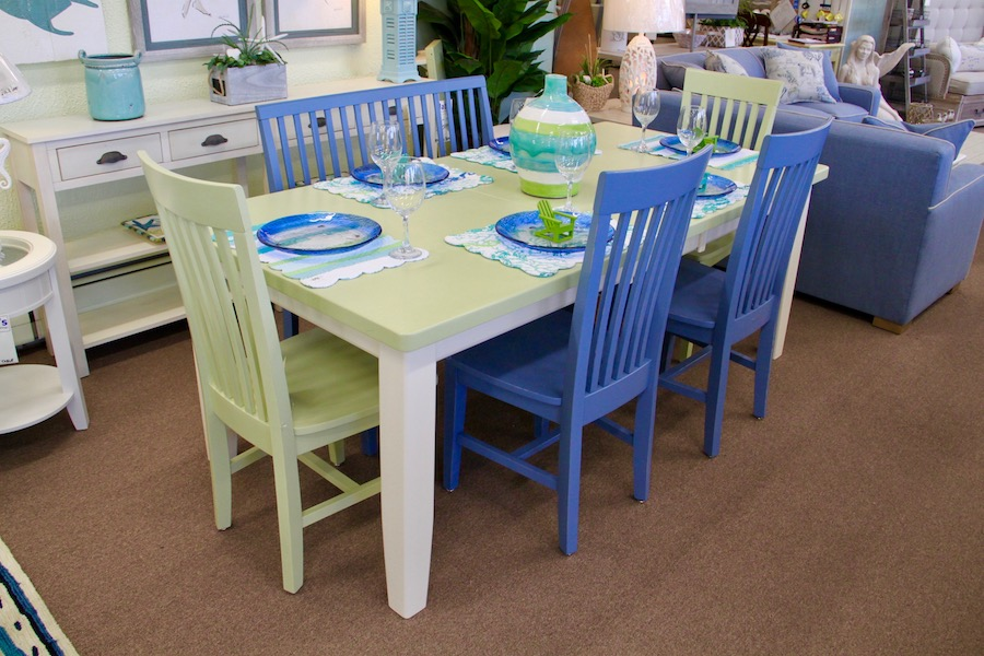 custom table in beachy colors