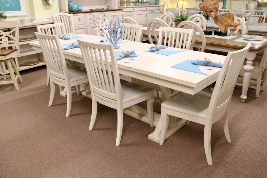 white trestle table and chairs
