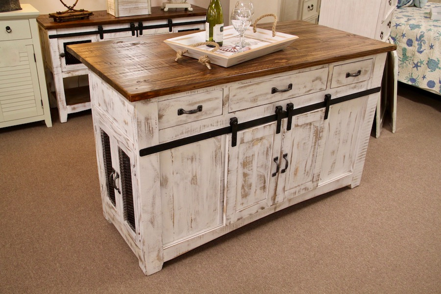 kitchen island with barn doors