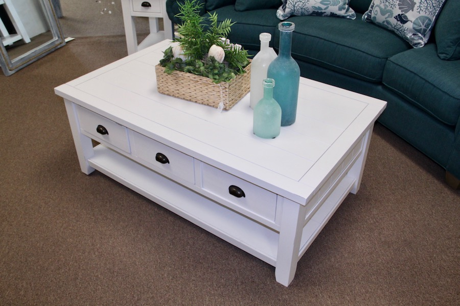 bright white plank top cocktail table