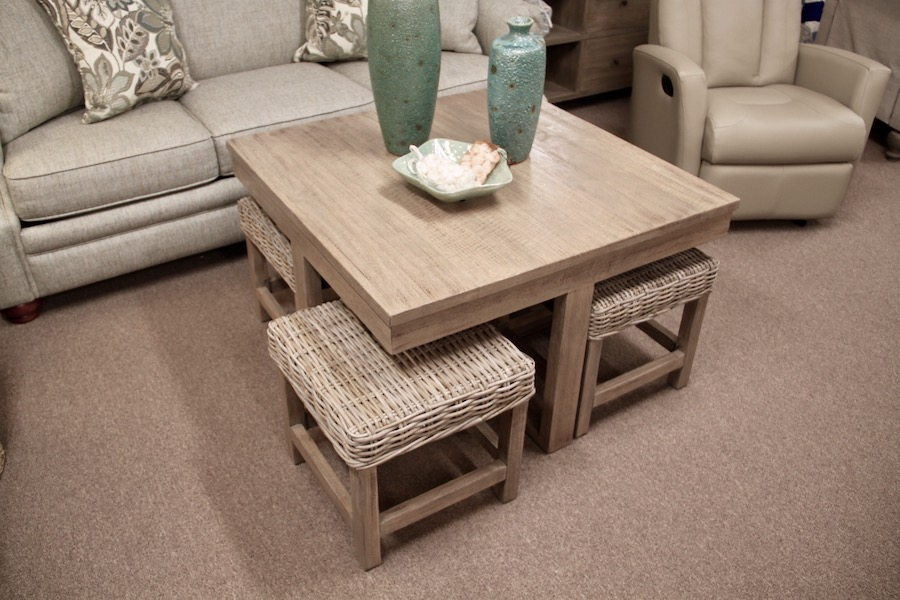 gray wash hassock table with wicker