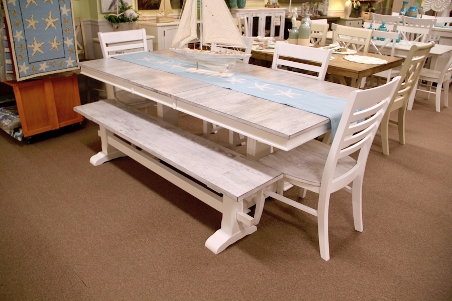 driftwood and white trestle table