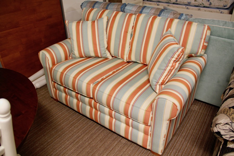 clearance striped loveseat