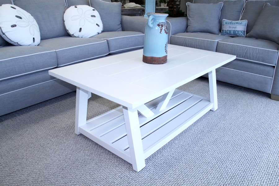 coastal white living room tables