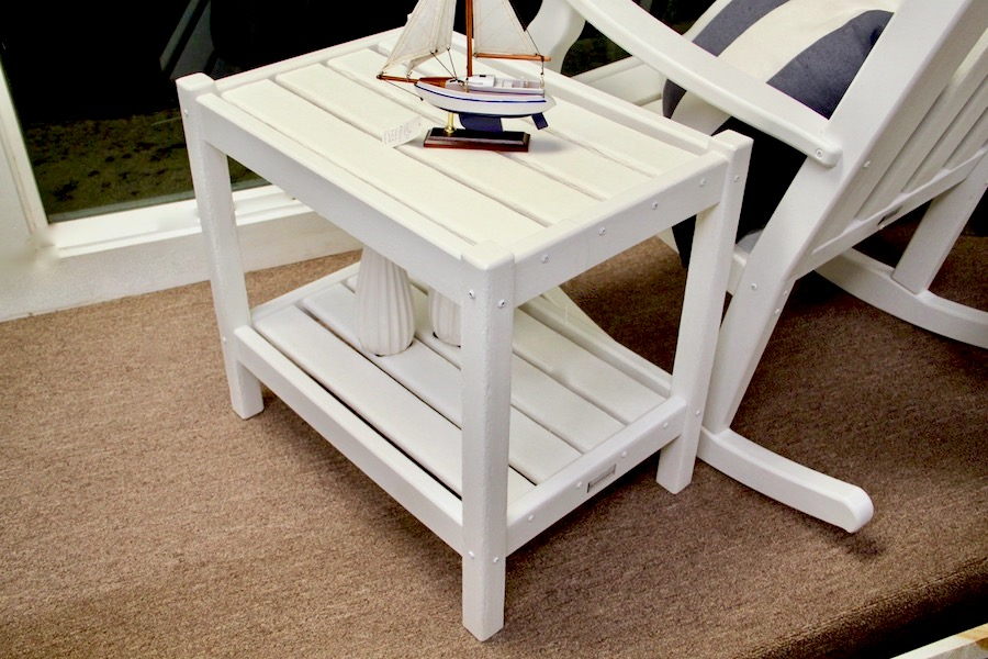 outdoor accent table white