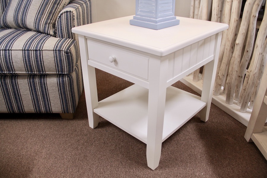 coastal white end table