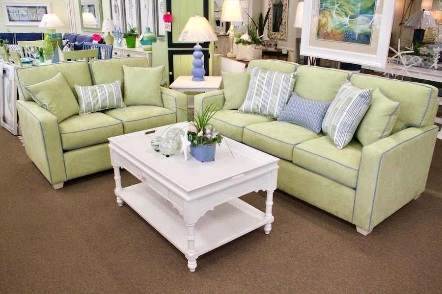 lime green sofa and loveseat