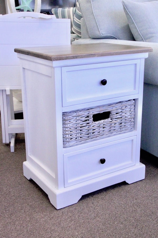 lamp table with basket drawer