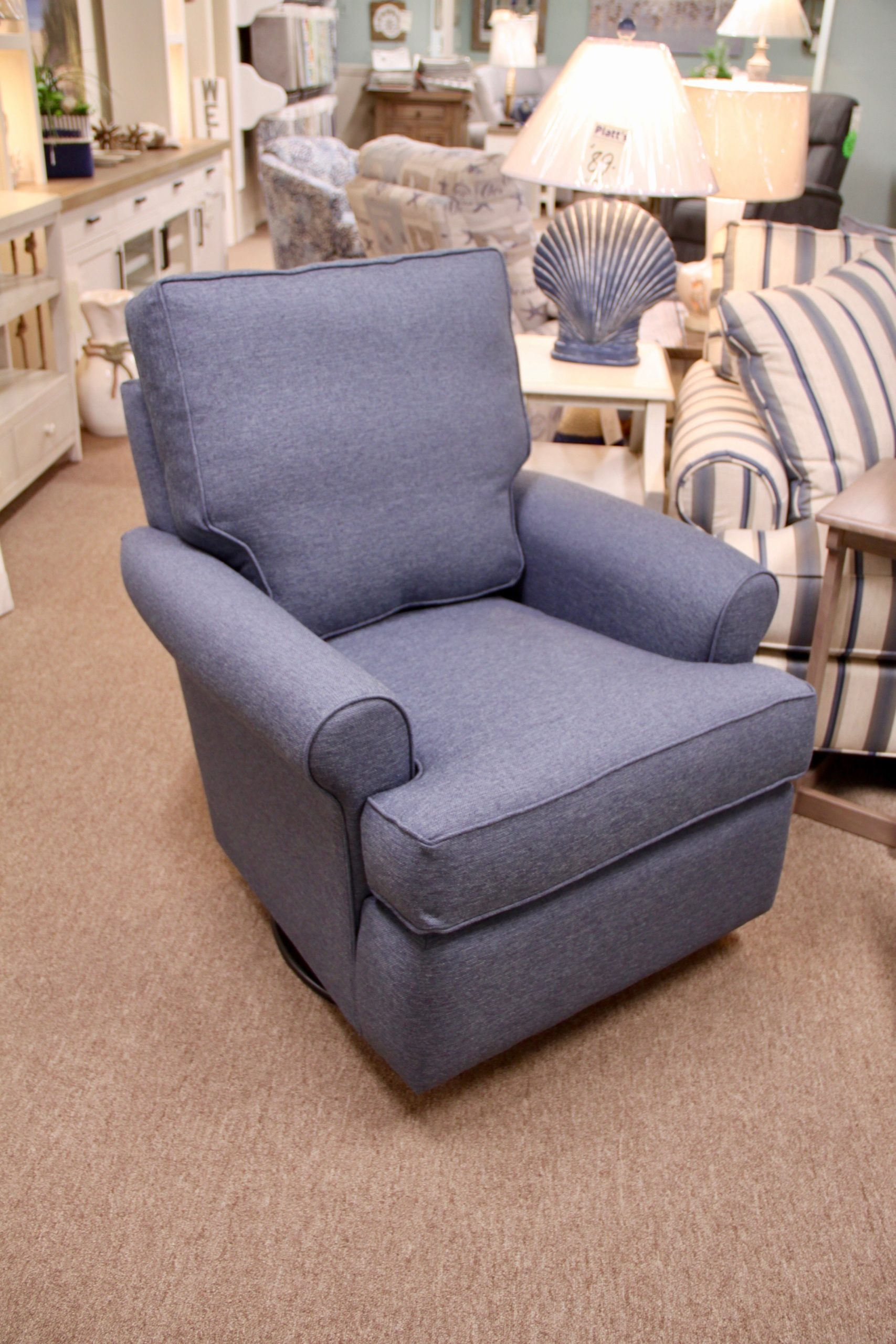 blue swivel glider chair