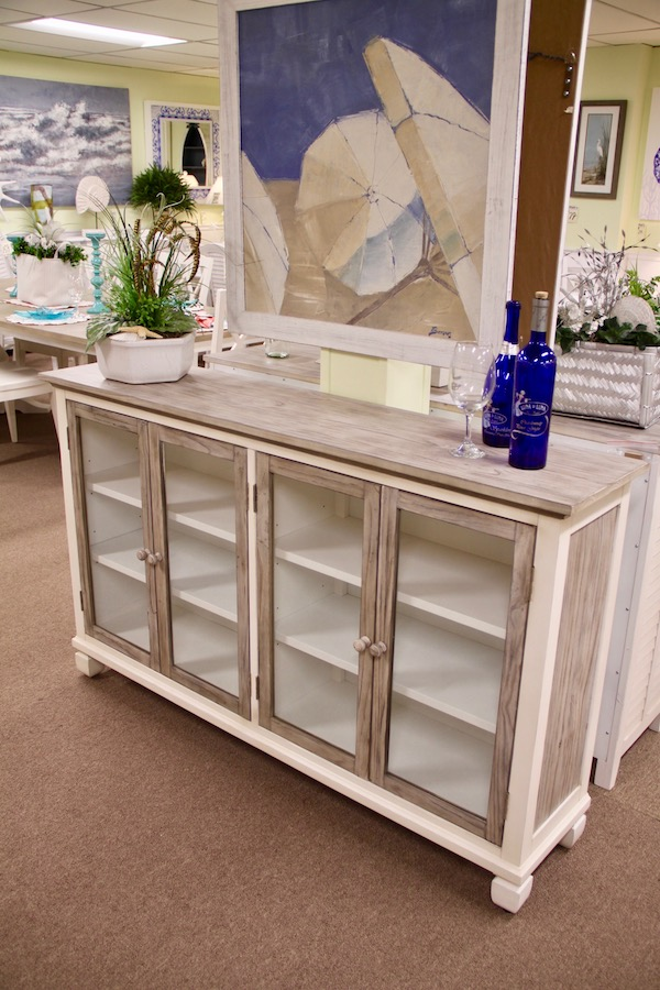 coastal glass door cabinet