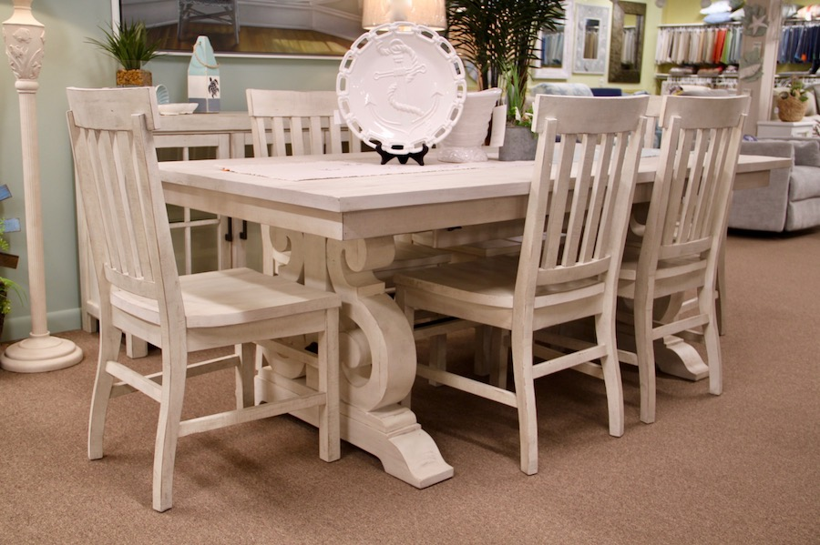 coastal white trestle table