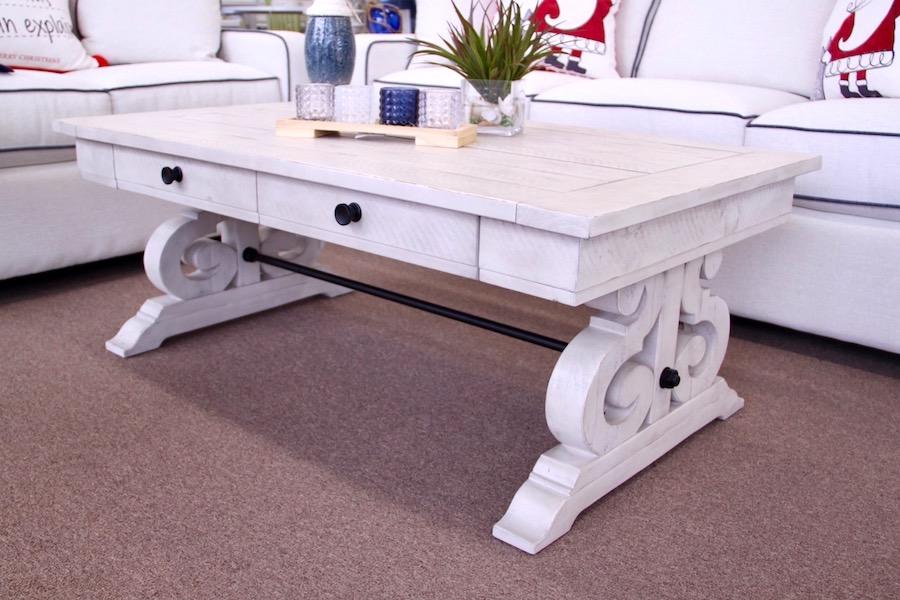 scrolled pedestal tables