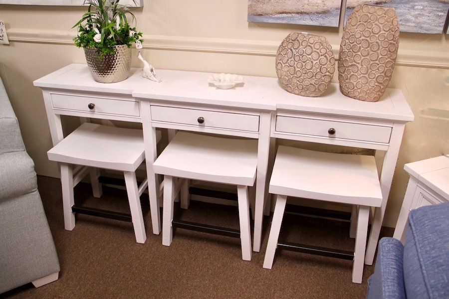 white console table and stools