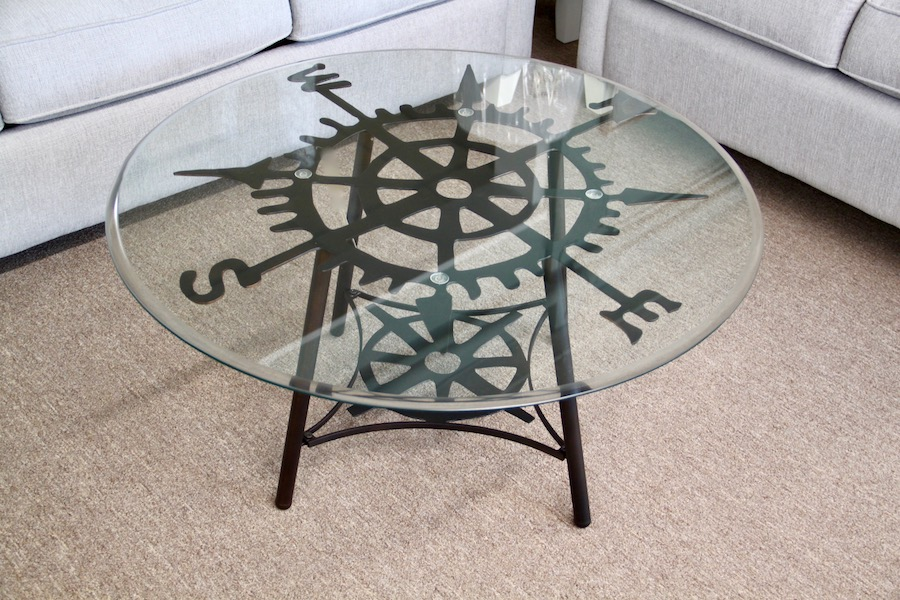 glass top compass tables